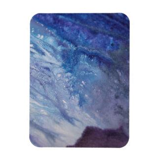 Ímã Água branca azul triste da onda da pintura do