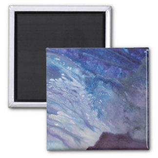 Imã Água branca azul triste da onda da pintura do