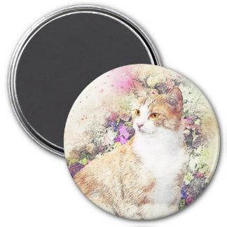 Imã Aguarela do abstrato   do gatinho   do jardim