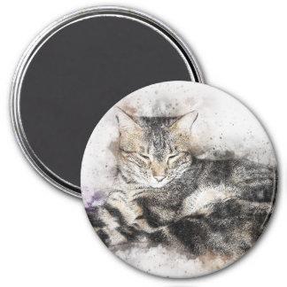 Imã Aguarela do abstrato | do gato malhado | do tempo