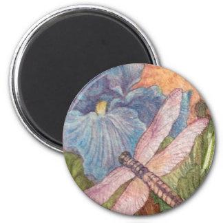 Imã Aguarela ilustrada da íris da libélula