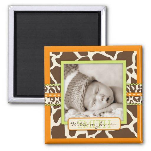 Ímã alaranjado da foto do menino do safari ímã quadrado