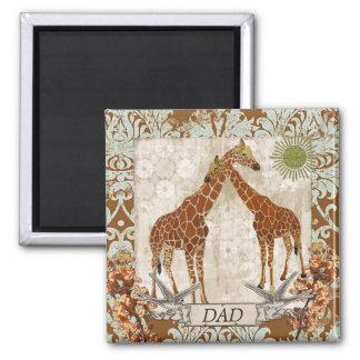 Ímã alaranjado do pai da flor dos girafas ímã quadrado