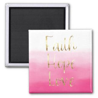 Imã Amor cor-de-rosa da esperança da fé da aguarela do