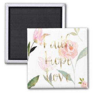 Imã Amor floral cor-de-rosa da esperança da fé da