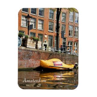 Ímã Amsterdão, canal, barco de madeira dos calçados
