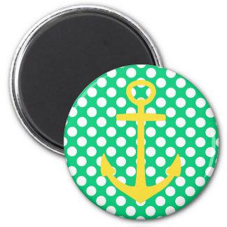 Imã Âncora amarela em bolinhas verdes e brancas