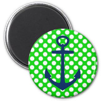 Imã Âncora do marinho em bolinhas verdes e brancas
