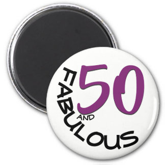 Imã Aniversário roxo & preto da tipografia   50th