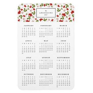 Ímã anual floral festivo do calendário 4x6