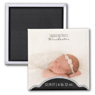Imã Anúncio de prata do nascimento da foto do bebê do