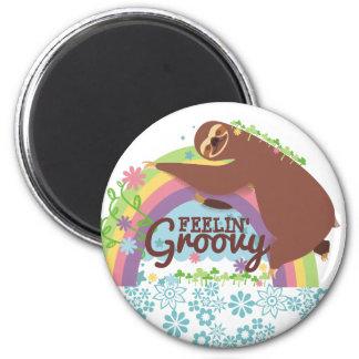 Imã Arco-íris retro do hippie da preguiça engraçada