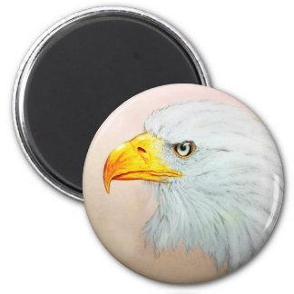 Imã Arte animal branca & amarela, ímã redondo - Eagle