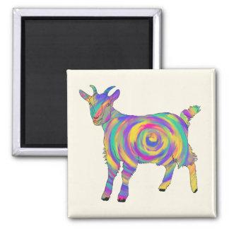 Imã Arte animal espiral colorida da cabra psicadélico