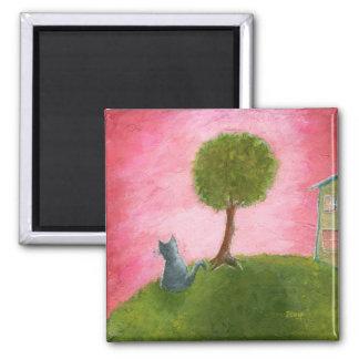 Imã Arte popular lunática do gato do gatinho que pinta