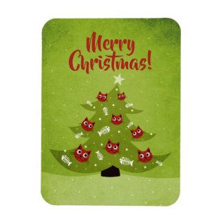 Ímã Árvore de Natal com os ornamento do gato e dos