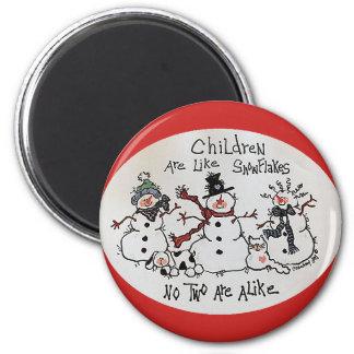 Imã As crianças são como o ímã dos flocos de neve