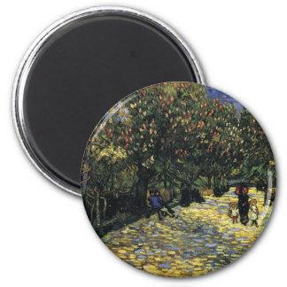 Imã Avenida com as árvores de castanha em Arles - Van