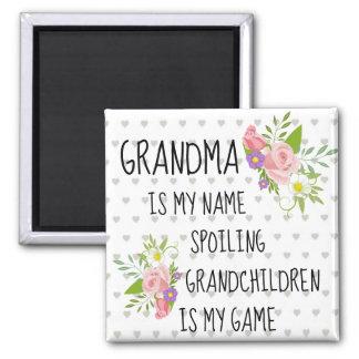 Imã Avó branca roxa cor-de-rosa floral e dos corações