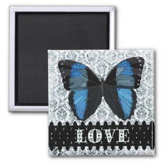 Ímã azul da arte do amor da borboleta de Boho Ímã Quadrado