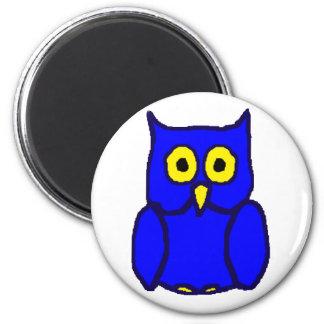 Ímã azul da coruja ímã redondo 5.08cm