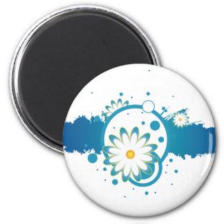 Ímã azul do respingo da pintura da flor imãs de refrigerador
