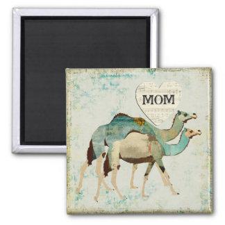 Ímã azul sonhador da mamã dos camelos ímã quadrado