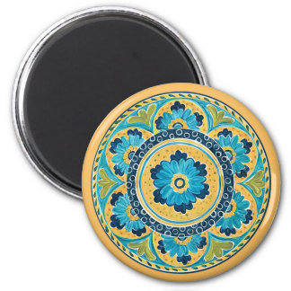 Imã Azulejo mexicano floral azul