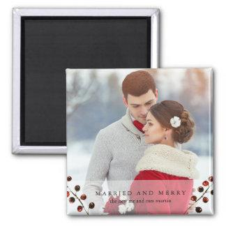 Imã Bagas do inverno casadas e ímã alegre da foto
