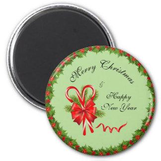 Imã Bagas Natal do azevinho e bastões de doces