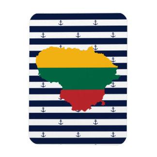 Ímã Bandeira/mapa de Lithuania em fundo listrado