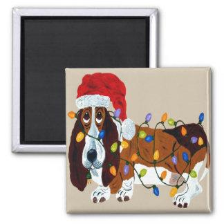 Imã Basset Tangled em luzes de Natal