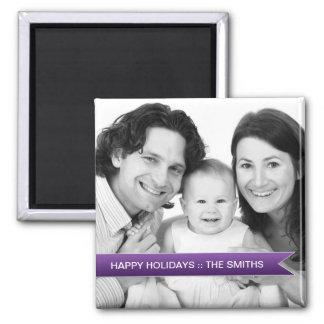 Imã Boas festas foto de família roxa elegante da fita