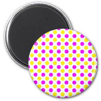 Imã Bolinhas cor-de-rosa e amarelas