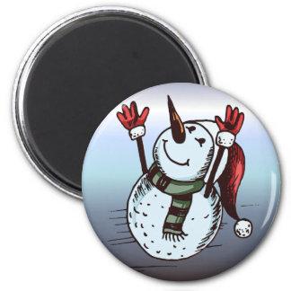 Imã Boneco de neve com chapéu do papai noel - nariz da