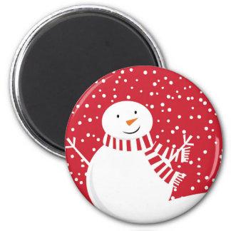 Imã boneco de neve vermelho e branco contemporâneo