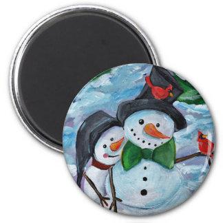 Imã Bonecos de neve de visita cardinais