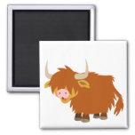 Ímã bonito da vaca das montanhas dos desenhos ímã quadrado