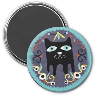 Ímã bonito do azul do gato de Kawaii do gatinho pr Ímã Redondo 7.62cm