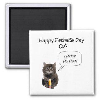 Ímã bonito do quadrado do dia dos pais do gatinho ímã quadrado