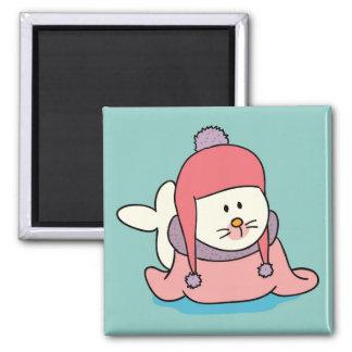 Ímã bonito dos desenhos animados do selo de bebê ímã quadrado