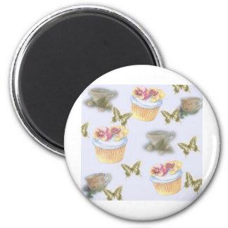 Imã borboleta ilustrada do teacup do cupcake