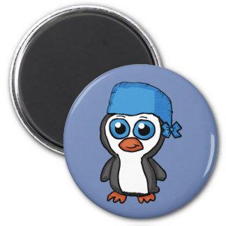 Imã Botão azul do pinguim do Bandana