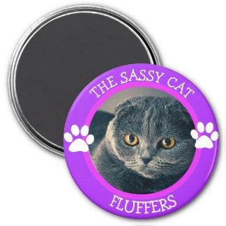 Imã Botão cómico personalizado da foto do gato Sassy