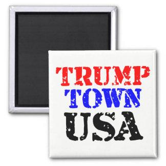 Imã Botão quadrado dos EUA da cidade do trunfo