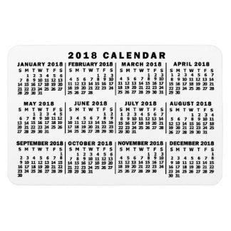 Ímã Branco do calendário mensal de 2018 anos e preto