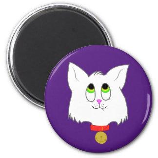 Ímã branco do gatinho ímã redondo 5.08cm