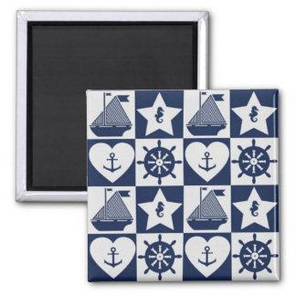 Imã Branco náutico dos azuis marinhos checkered