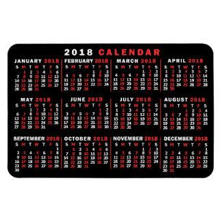 Ímã Branco vermelho preto clássico do calendário