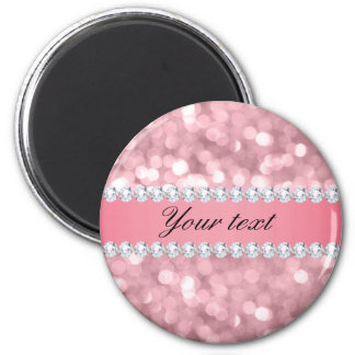 Imã Brilho cor-de-rosa Bokeh e diamantes
